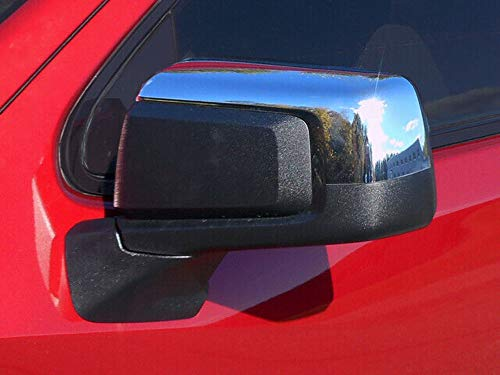 QAA fits 2019-2020 Chevrolet Silverado, 2019-2020 GMC Sierra 2 Piece Chrome Plated ABS Plastic Mirror Cover Set, Top ONLY, Snap on Replacement Set MC59170