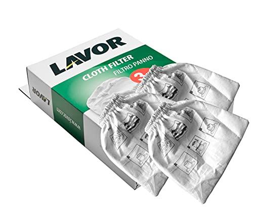 LAVOR 5.212.0091 Filtro in Panno 3 Pezzi, Grigio Chiaro
