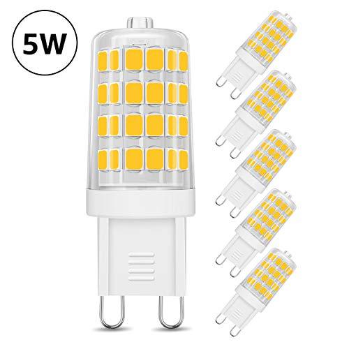 LE G9 LED lampadina da 5W, Equivalente di Lampadine Alogene da 50W, 340 lumen, Luce Bianca Calda 3000K per Lampade, 5 Pezzi