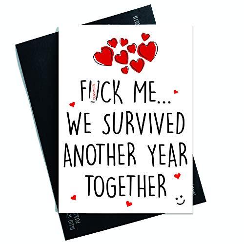 Peachy Antics Grappige Kaarten, Valentines, Jubileum, Verjaardagskaarten, Man Vrouw Vriendin Vriendin Zweer Kaarten Humorous Overleefde Een ander Jaar PC205