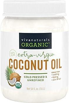 Viva Naturals Organic Extra Virgin Coconut Oil  54 Oz  - Non-Gmo Cold Pressed