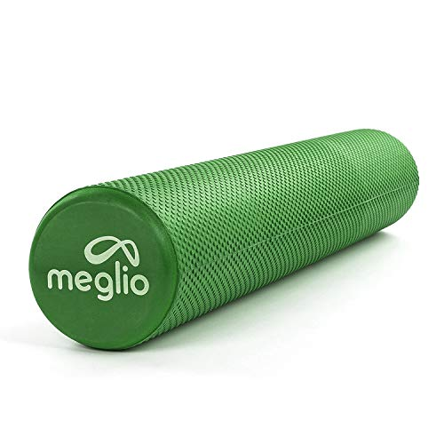 Meglio Rodillo de Masaje de Alta Densidad (90cm). Ideal para Masajes y Liberación Miofascial - Perfecto para Fitness, Yoga, Pilates. Color Azul con guía de ejercicio gratis