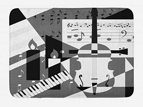 Alfombrilla de baño musical, notas musicales futuristas y diseño de collage de mosaico con tema de papel de líneas, alfombrilla de felpa para decoración de baño con respaldo antideslizante, negro, bla