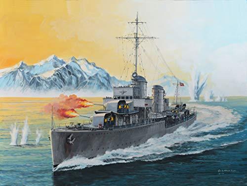 Revell Modellbausatz Schiff 1:350 - GERMAN DESTROYER TYPE 1936 im Maßstab 1:350, Level 4, originalgetreue Nachbildung mit vielen Details, 05141