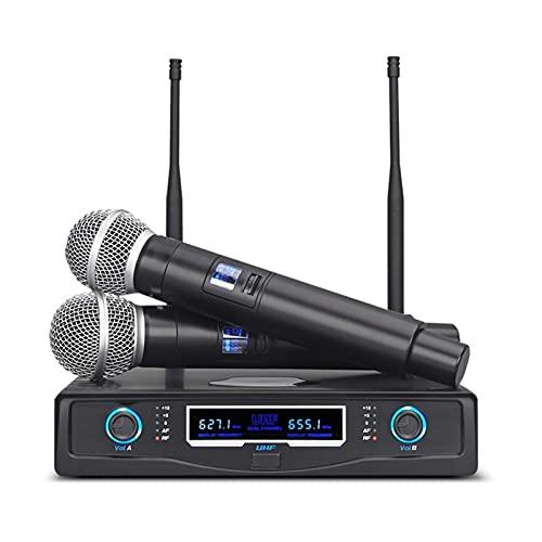 zunruishop Cambiador de Voz Sistema de micrófono inalámbrico Dual Professional 2 Canales Micrófono de Karaoke de Mano dinámica para Fiesta KTV Iglesia de Host de Escenario Altavoz con micrófono