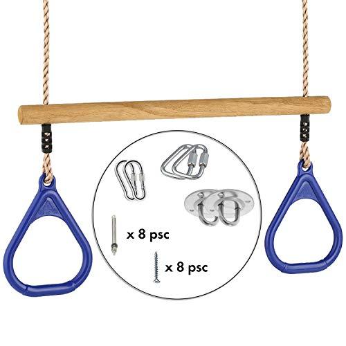 Cateam Trapez-Schaukelstange für Kinder, blau, mit Montage-Kit – 100 kg Tragkraft – Spielplatz-Schaukel-Zubehör – DIY Trapez Klimmzugstange für Ihr Fitnessstudio – Ninja Line Zubehör