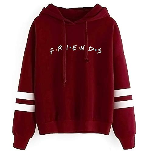 Unisex Fashion Friend Hoodie Sweatshirt Friend TV Show Merchandise Women Men Tops Hoodies Sweater Funny Hooded Pullover (L, Friend Hoodie Wine red)