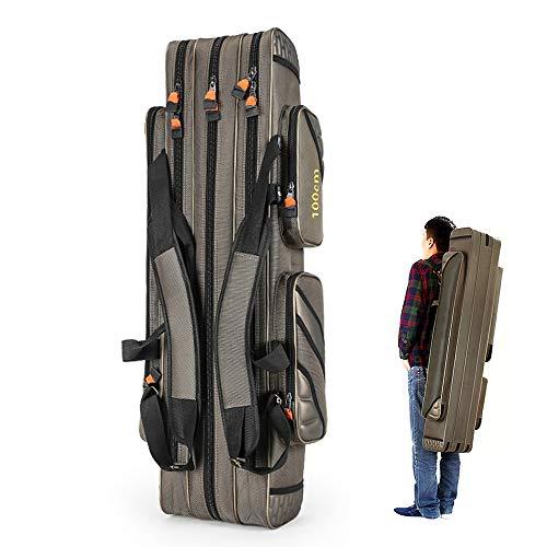 Lixada 100/120 cm 3 lagen hengel tas hengel gereedschap opbergtas hengeluitrusting visuitrusting tas val, glijtas Rod Case viskoffer voor hengels, schepnet en hengelhouder