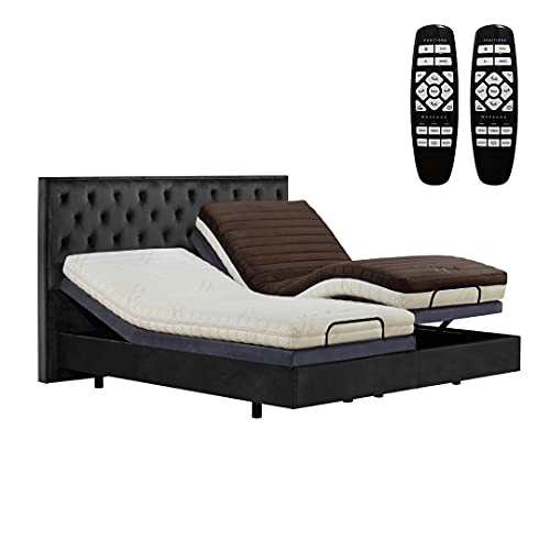 Split King Adjustable Bed Frame Ergonomic Power Bed Base Comfort Upholstered Smart Bed with Massage Wireless Remote, Dual USB Charge Ports, Nightlight, Zero-Gravity, Memory Pre-Sets.Easy to Assembly