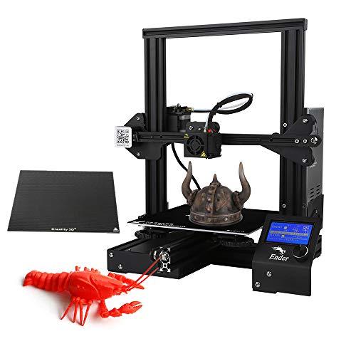 Imprimante 3D, Creality 3D Ender-3X Imprimante de Bricolage 3D Haute Précision Mise à Niveau par Auto-Assembler, Taille d'impression 220 * 220 * 250mm avec Plaque de Verre
