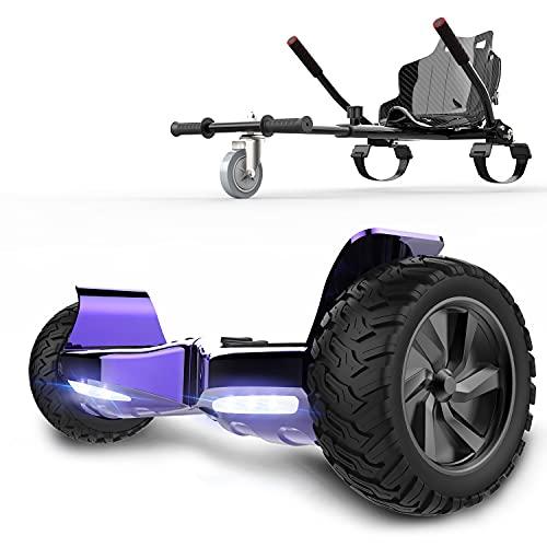 RCB hoverboards SUV Scooter Eléctrico Patinete Auto-Equilibrio Todo Terreno 8.5 ' Patinete Hummer Bluetooth + Hoverkart Asiento Kart para Overboard, Regalo para niños (Violeta + Negro Carbón)