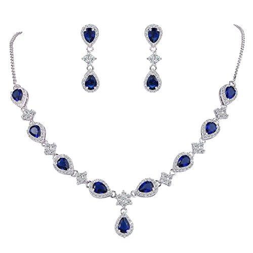 Clearine Juegos de Joyas de Mujer Zirconias Lágrimas Collar y Pendientes para Novia Boda Fiesta Azul