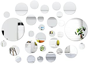 SelfTek 30 Pcs Removable Round Mirror Wall Stickers Self Adhesive Acrylic Circle Mirrors Wall Decal Decorative Mirrors for Wall Decor Window Door Room Bedroom Art Background Decoration