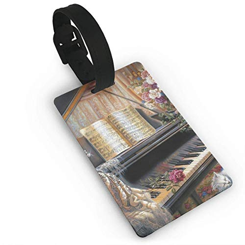 WERERT Kofferanhänger,Luggage Tag Piano Business ID Card Holder with Adjustable Strap for Travel BaggageTags Baggage Bag/Suitcases Business Card Holder Name ID Labels 3.7X2.2in