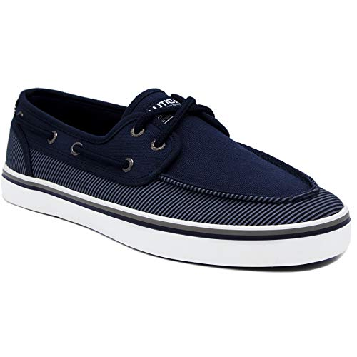 Nautica Men's Spinnaker Lace-Up Boat Shoe, Casual Loafer, Fashion Sneaker-True Navy Stripe 1-13