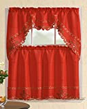 All American Collection New 3pc Christmas Holiday Design Embroidered Kitchen Curtain Set (Poinsettia, Red)