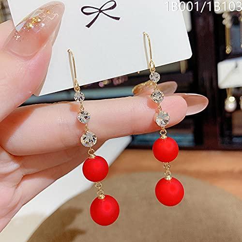 XCWXM Red Pearl Round Bead Pendientes de Cuentas Coreanos Elegantes Pendientes de joyería Coreana Pendientes Blancos Coreanos-2