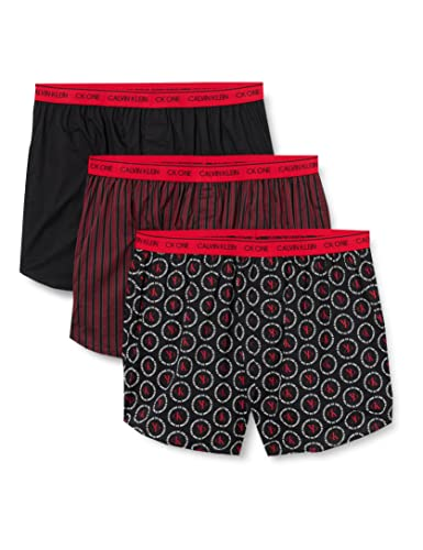Calvin Klein Herren Boxer Slim 3PK Boxershorts, Link-Logo, Schwarz, Osborne-Streifen, M