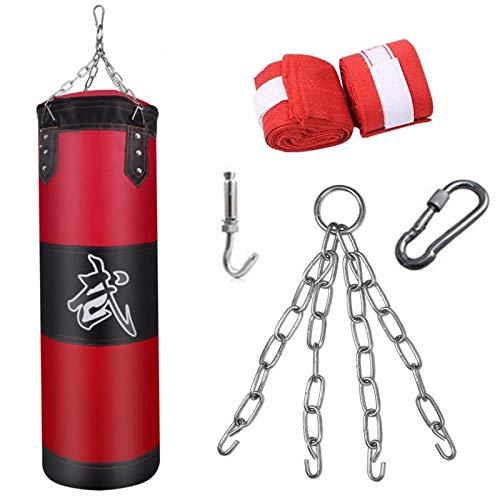 Boxsack Set Ungefüllte Hängende Boxsack mit Montagekette für Boxtraining Sandsack Kampfsport,MMA Schwere Training Fitness Dekompression Sandsäcke Kick Kampftraining,Passend für kinder erwachsene