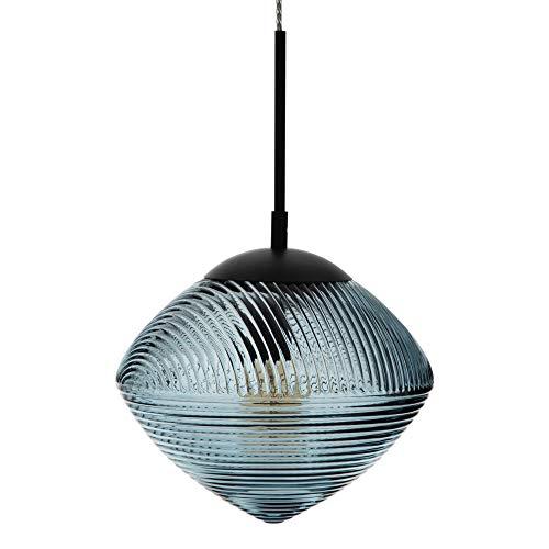 Lámpara de techo con tulipa tallada de cristal y metal azul oscuro de Ø 26x40 cm - LOLAhome