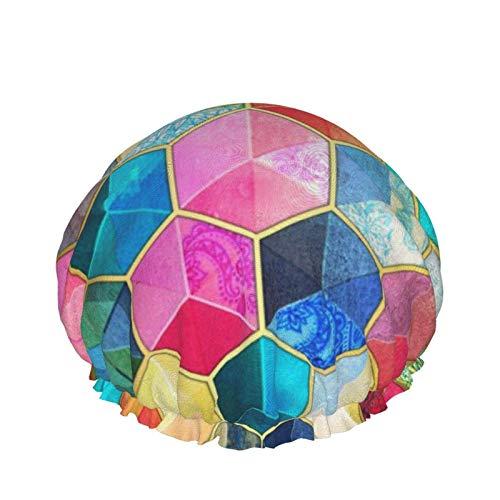 Cubos de cristal bohemios de panal de abeja coloridos con patrón hexagonal de doble capa, gorro de ducha impermeable elástico para las mujeres ducha spa salón