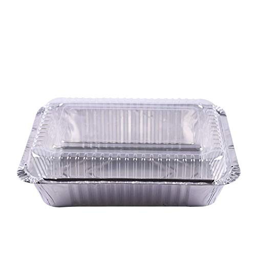 Tiger Chef Oblong Aluminum Tin Foil 2.25 Pound Pans Dimensions: 8.44' X 5.89' X 1.8' With Clear Dome Lids Measures: 8.5' x 6' x 1' Disposable Freezer to Oven Safe for Takeout Storing - 50 Pack