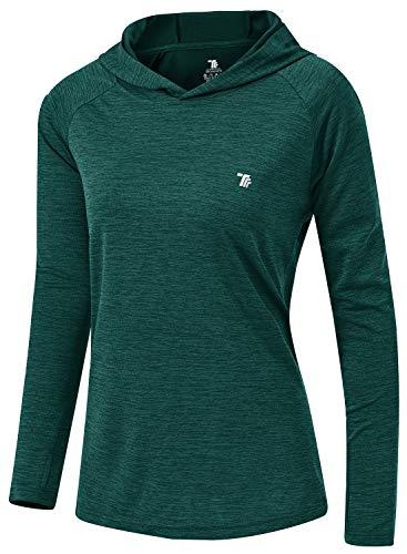 TBMPOY Womens UPF 50+ Sun Protection Hoodie Shirt Long Sleeve Fishing Hiking Outdoor UV Shirt Lightweight Green L