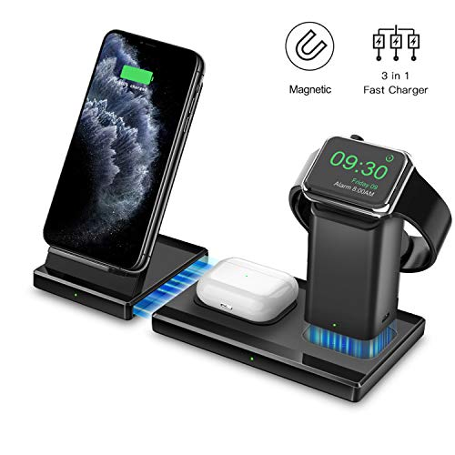 Hoidokly 3 in 1 Draadloze Oplader, QI Inductielader Snel Opladen Station, Wireless Charger Magnetisch voor Apple Watch Series 2/3/4/5, iPhone 11 Pro Max/XS Max/XR/X/8 Plus, AirPods 2/Pro/Samsung Buds