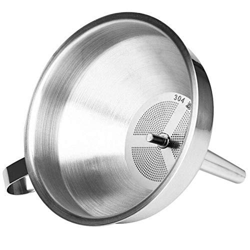 Uarter Hochleistungs-Küchentrichter aus Edelstahl mit abnehmbarem Griff 304 SS für flüssiges Öl groß Silber-1
