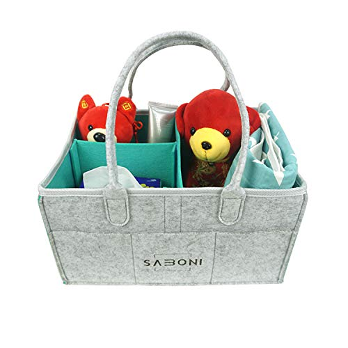 Baby Diaper Caddy Organizer- Nursery Diaper Storage Basket | Changing Kits Portable Car Organizer for Wipe Toy bin | Baby Shower Gift | Decorations for Boy and Girl Newborn