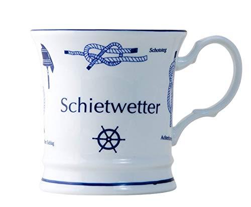Schietwetter Premium Becher mit Seemannsknoten hoch Knotenbecher Souvenir Kaffeebecher Andenken Teebecher