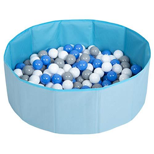 Selonis Faltbare Bällebad Mit 200 Bälle Für Kinder Haustiere Spielbad, Blau:Grau/Weiß/Blau