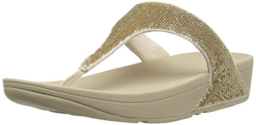 FitFlop Women's Electra Micro Toe-Post Sandal, pale gold, 8 M US