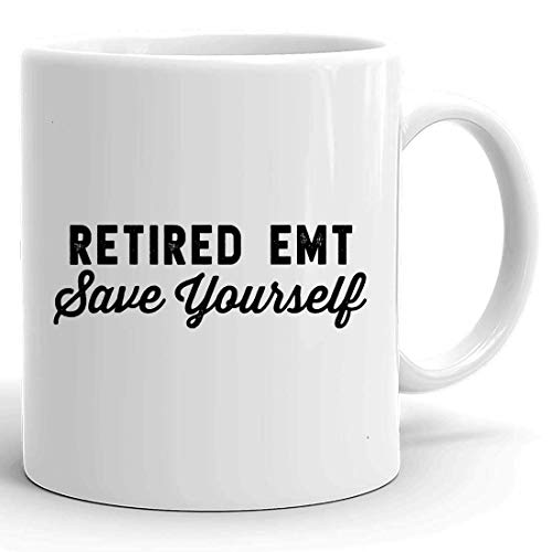 N\A Taza de Taza jubilada - Camisa Divertida de EMT - Taza de Taza de EMT jubilada Sálvate a ti Mismo para Abuela Abuelo