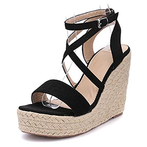 Frauen Keilabsatz Sandalen Sommer Gladiator Rom Knöchelriemen Open-Toe-Schuhe Plattformen Pumps Casual High Heels