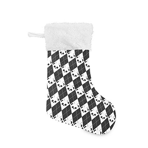 Enzenon Christmas Stockings Personalized Panda Black Argyle Cute Velvet Plush Cuff Large Santa Stocking Hanging Ornaments Bag for Family Holiday Xmas Tree Fireplace Party Decorations 17.71inch 2 Pack
