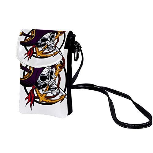 Bolso Bandolera para Celular Pequeño timón de cuchillo de cráneo Mini Billetera Multifunción Monedero Puede Caber Gafas de sol Teléfono móvil 19x12x2cm