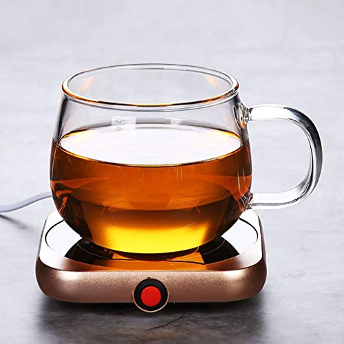 Getränkewärmer Set,Tassenwärmer for Kaffee, Warm Cup 55 Grad Heiße Milch Kaffee Selbsterhitzung Cup Büro Konstanter Temperatur Heizung Coaster Heizung Isolierung Basis Mit Cup