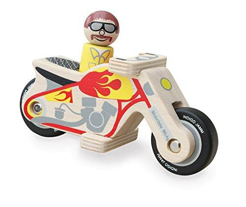 Indigo Jamm Motorbike Micky: Spielmotorrad aus Holz im Retrodesign – ein klassisches Fahrzeug mit herausnehmbarem Fahrer