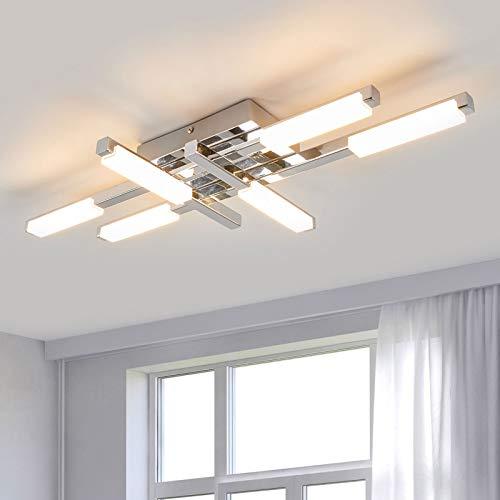 Lindby LED Deckenlampe 'Patrik' (spritzwassergeschützt) (Modern) in Chrom aus Metall u.a. für Badezimmer (6 flammig, A+, inkl. Leuchtmittel) - Bad Deckenleuchte, Lampe, Badezimmerleuchte
