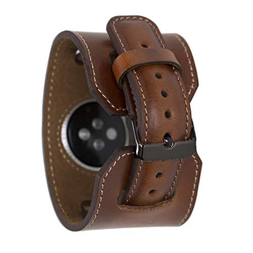 Renna Echtleder Armband kompatibel mit Apple Watch Serie SE, 6 und 5/4/3/2/1 handgefertigtes Cuff Lederarmband 44mm 42mm 40mm 38mm für Damen Herren (42-44mm, Braun Classic, Schwarz Connector)