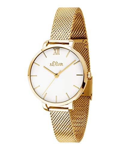 s.Oliver Damen-Armbanduhr Analog Quarz Edelstahl (Gold) SO-3663-MQ