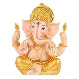 Cabilock Elephant God of Indian Ganesh Idol Car Dashboard Wealth Statue Hindu Buddha Resin Sculpture Blessing Good Luck Decoration for Home Office 10.5X 14cm