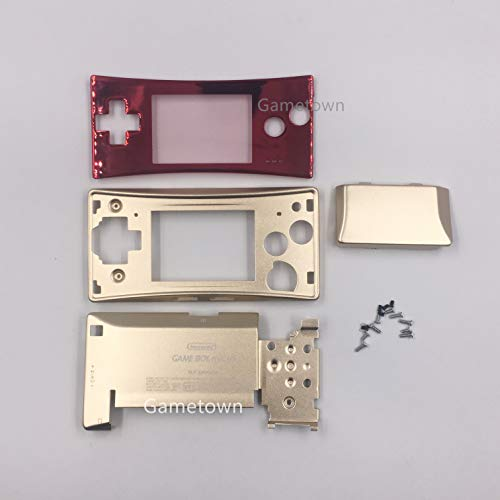 Replacement 4 in 1 Metal Front Cover Faceplate Bottom Housing Shell Pack with Full Screws Set for Gameboy Micro GBM Case Cover Red+Glod