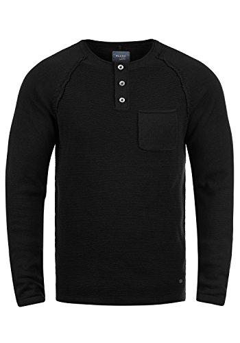 Blend Otto Herren Strickpullover Feinstrick Pullover Mit Rundhals Und Knopfleiste Aus 100% Baumwolle, Größe:XXL, Farbe:Black (70155)