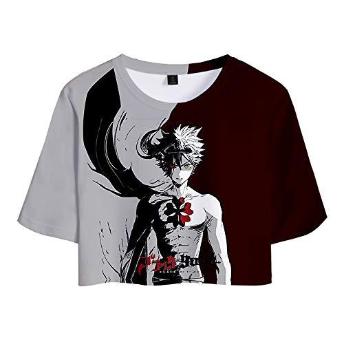 Black Clover Camiseta Camiseta de Verano para Mujer, Camiseta Original de Manga Corta, Camiseta clásica de Manga Corta y Sexy. Unisex