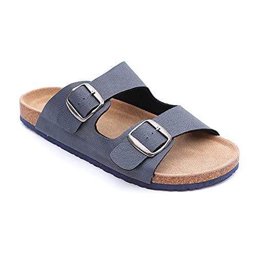 COQUI Mules Mujer Planos,Doble Ayuda con Zapatillas de Corcho Zapatillas cómodas desgastes-Azul Tibetano_45