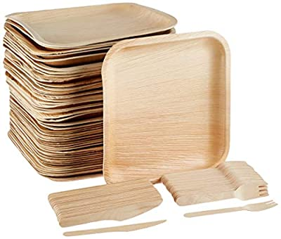 "Eco-Friendly Disposable Dinnerware Set of 150 Party Supplies: Large 10"" Palm Leaf Plates (50), Wooden Forks(50) & Knives (50) - Natural, Compostable (Square)"