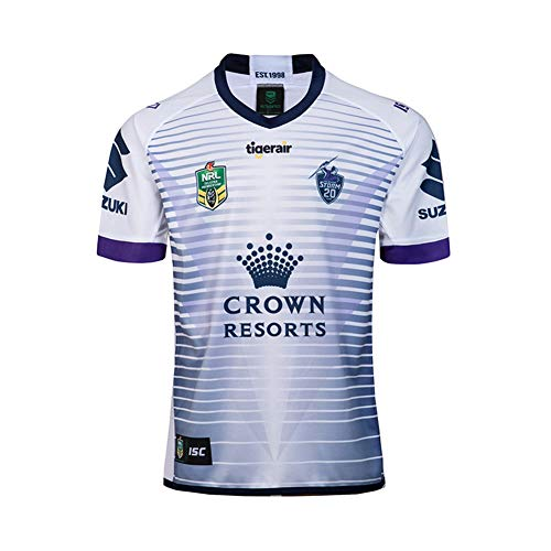 LQWW Sports Fan Jerseys,Melbourne Storm 2019-20 World Cups Rugby Jersey Crew Neck T-Shirt Polo Training Short Sleeve Tops Men's Casual Sports T-Shirt Football Clothing,White,L