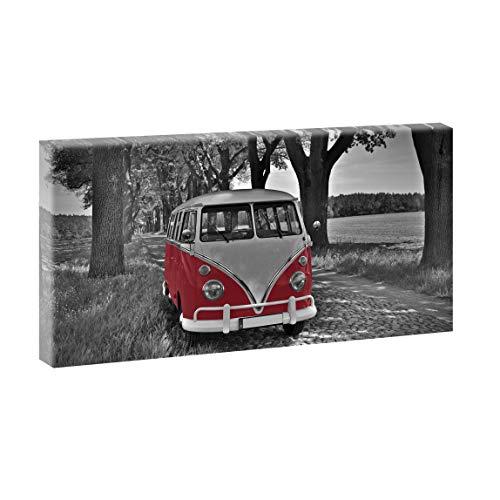 Querfarben Bild auf Leinwand Oldtimer-Motiv Leinwandbild Allee Retro Bulli 40x80 cm SW/Rot, 40/80 cm, Wandbild XXL, Leinwandbild mit Kunstdruck, Fahrzeugbild